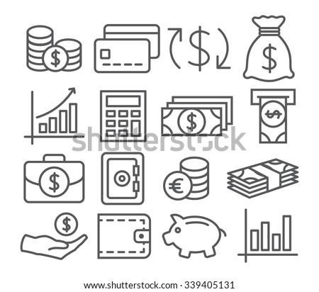 Money Line Icons - stock vector