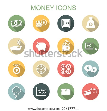 money long shadow icons, flat vector symbols - stock vector