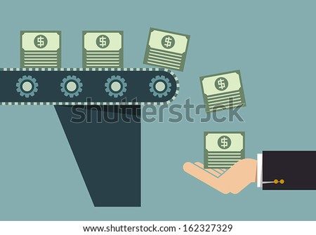 Money making machine, Business idea - stock vector