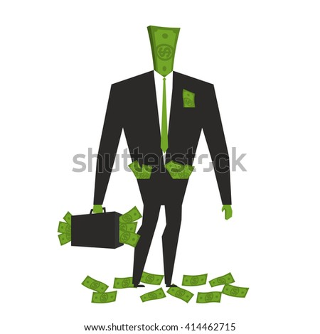 Money man. Dollar  Monster. human wite cash. Bundle of dollars. Businessman rich. Case with money. rich boss. Sack of money for head. finance person - stock vector