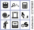 money management, bank icon set, vector - stock