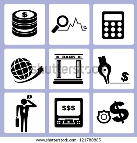 money management, bank icon set, vector