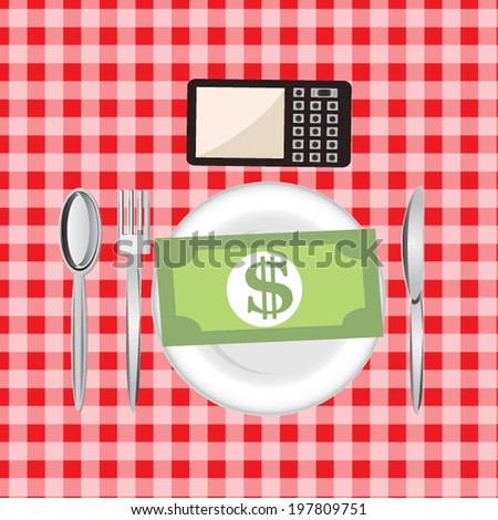 Money on set up table wtih smart phone, money concept - stock vector