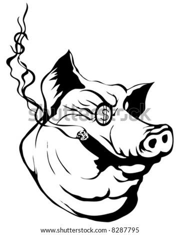 money pig vector - stock vector