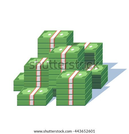 Money pile. Stacked packs of dollar bills. Minimal style flat vector illustration. - stock vector