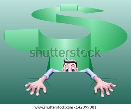 Money Pit - symbolic of a pit of debt, bad investment, too many bills, inflation, bankruptcy, corporate slavery, financial crisis, high taxes, rising costs, or a hole in the shape of a dollar sign. - stock vector