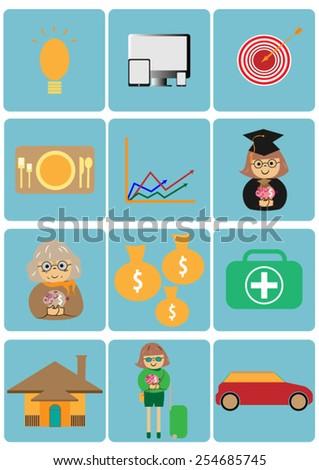 money planning icon - stock vector