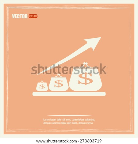 Money purse growth of bank deposits. - stock vector