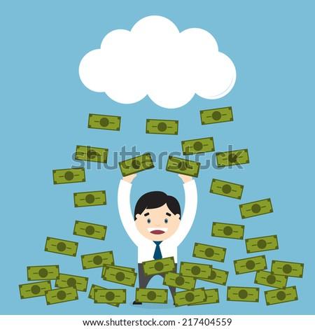 Money raining over a businessman. Win a lottery. Flat design. Vector illustration - stock vector