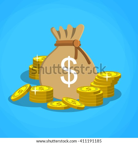 Money saving and money bag icon design, bag with dollars money on pile of golden coins.  vector illustration in flat design - stock vector