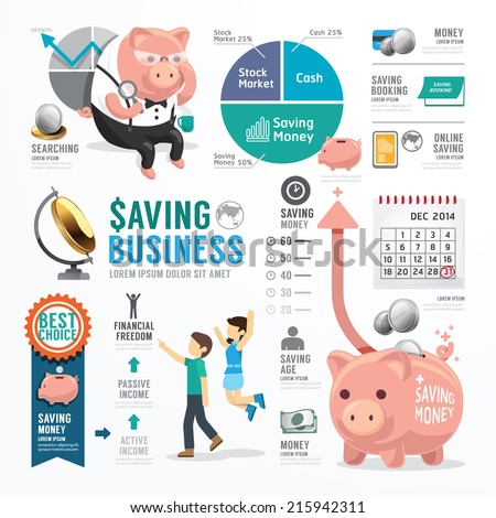 Money Saving Business Template Design Infographic . Concept Vector Illustration - stock vector