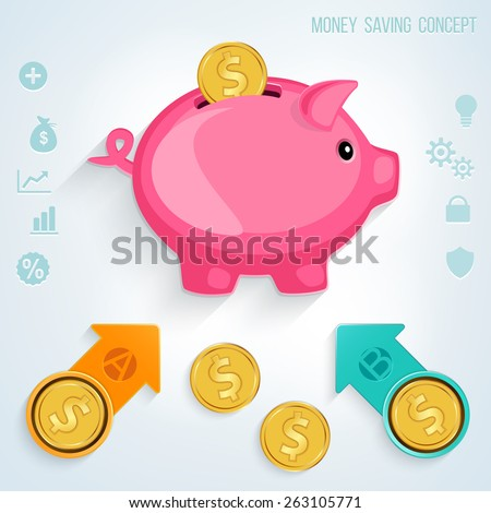 Money saving concept. Golden coins putting into a pink piggy bank.  - stock vector