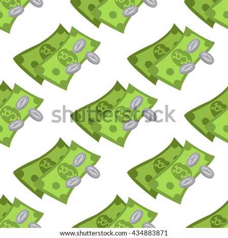Money seamless pattern on a white background for design surface.