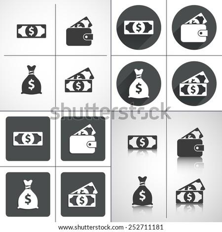 Money set icons: money bag, purse. Set elements for design. Vector illustration - stock vector
