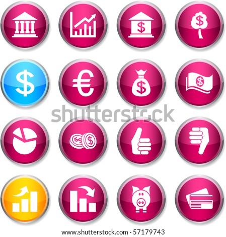 Money set of round glossy icons. - stock vector