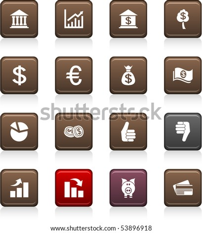 Money set of square color icons.