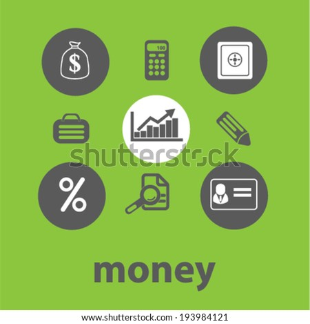 money signs: finance, bank icons set, vector - stock vector