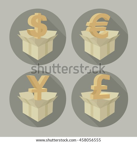 Money signs in open boxes on grey vector illustration - stock vector