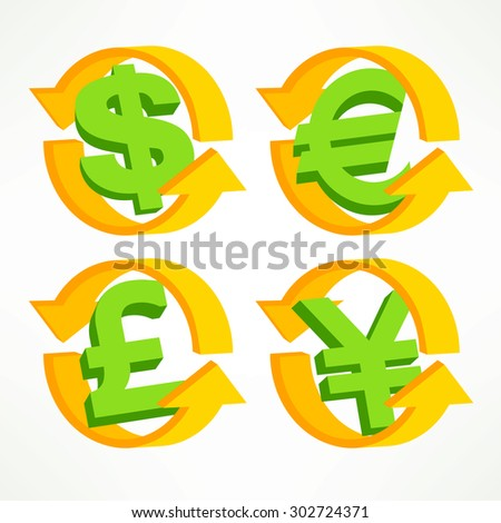 Money signs with arrow on white, financial infographic, vector illustration - stock vector