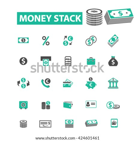 money stack icons  - stock vector