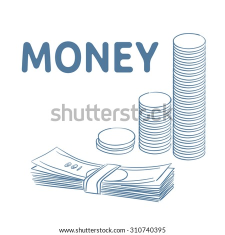 Money. Stack of coins and stack of banknotes. - stock vector