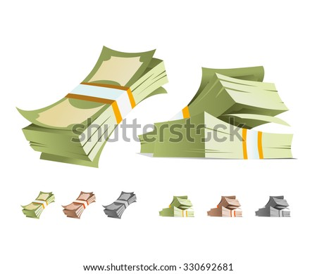money stack vector illustration. isolated - stock vector