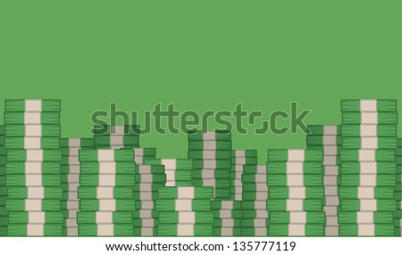 Money stacked filling green room - stock vector