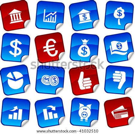 MOney  sticker set. Vector illustration.