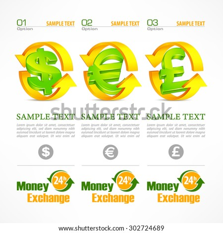 Money symbol infographic, money signs with arrow on white, vector illustration - stock vector