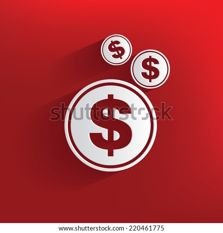 Money symbol on red background,clean vector - stock vector