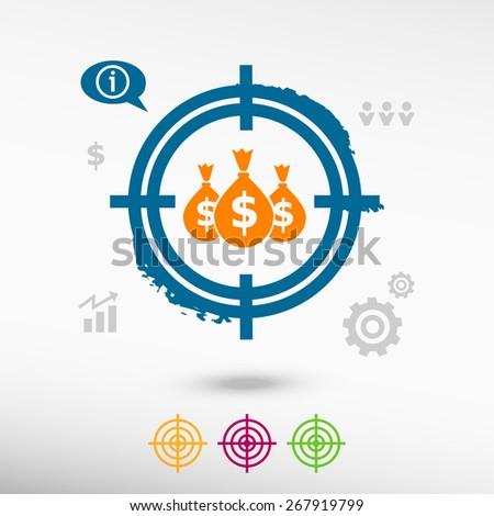 Money symbol on target icons background. Flat illustration. - stock vector