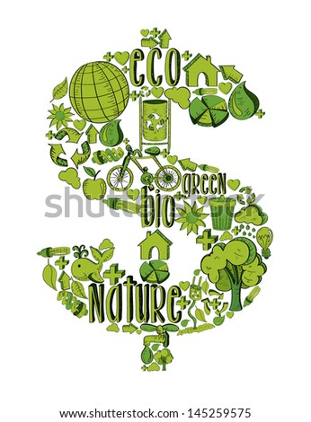 Money symbol with environmental hand drawn icons in green. This illustration is layered for easy manipulation and custom coloring - stock vector