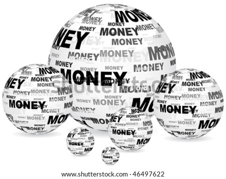 money text on balls