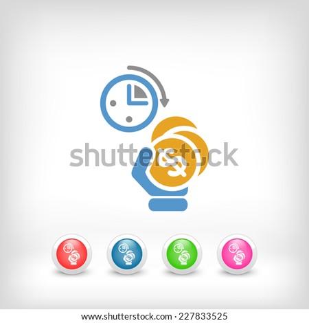 Money time icon - stock vector