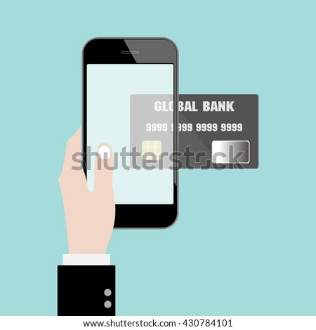 Money transfer with hand, credit card and smart phone. online shopping. mobile banking. Flat design for business financial marketing commercial advertisement concept cartoon illustration.