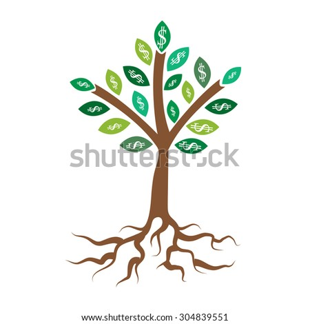 Money tree. Business concept with white dollar signs on the green tree leaves. - stock vector
