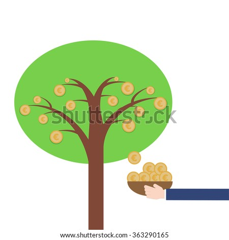 Money Tree Euro symbol and business hand keeping on white background, Saving and investment Concept vector illustration in flat design - stock vector