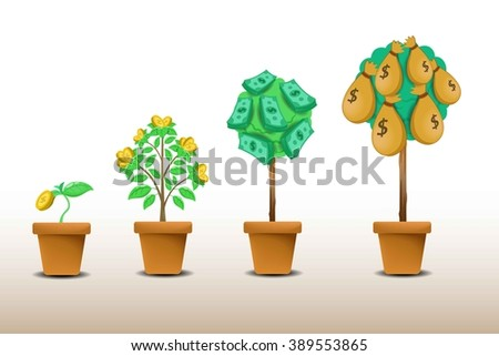 money tree growing with clay pot,vector illustration - stock vector
