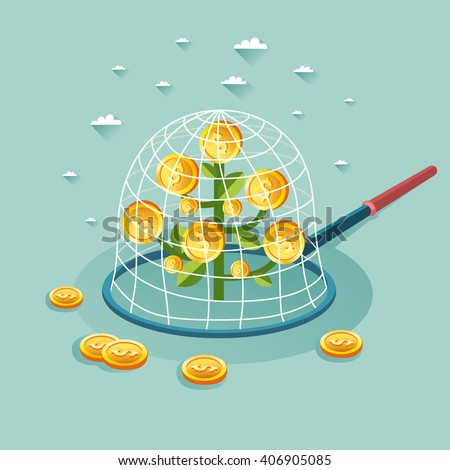 Money tree in a trap. Saving money concept. Vector colorful illustration in flat style - stock vector