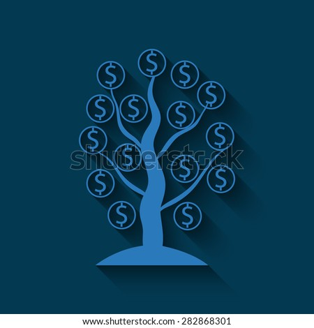 Money tree isolated  on a blue background