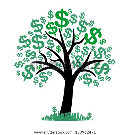 Money tree with dollar signs as leaves - stock vector