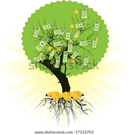 Money tree with dollars. Vector illustration