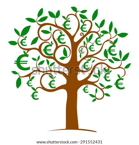 Money tree with euros isolated on White background. Vector illustration - stock vector