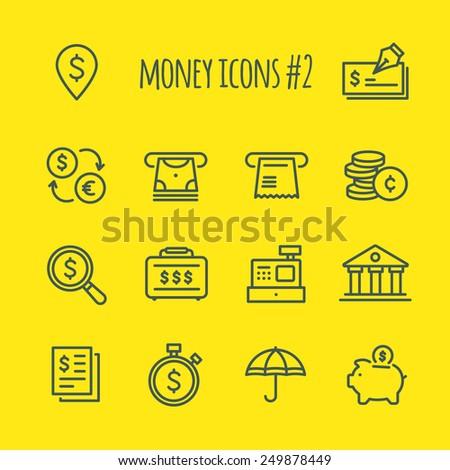 Money Vector Line Icons Set 2 - stock vector