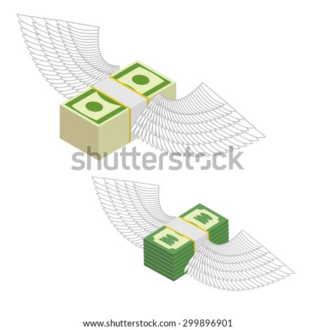 Money with wings. Bundles of money flying around. Vector illustration - stock vector