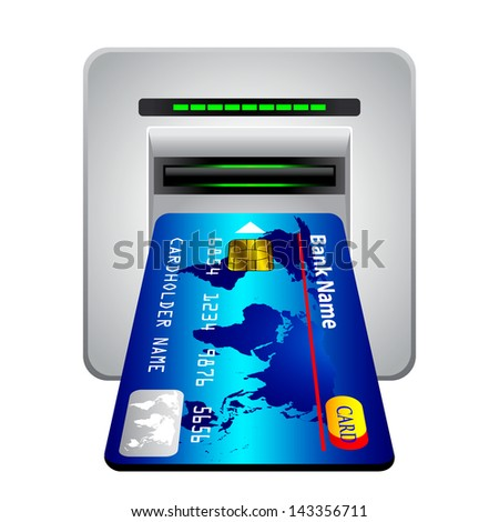 Money withdrawal. ATM and credit or debit card. 3d - stock vector