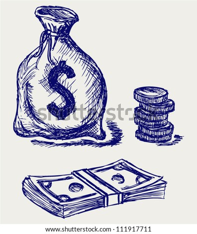 Moneybag and coin. Doodle style - stock vector