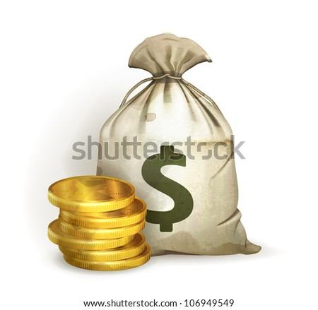 Moneybag, old-style vector isolated - stock vector