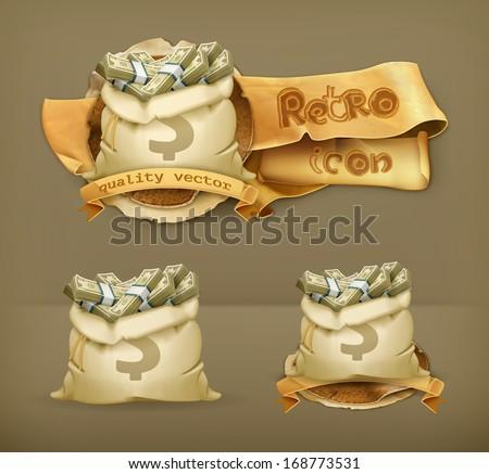Moneybag, vector icon - stock vector
