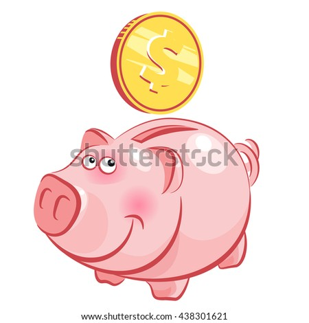 Moneybox funny pig. Coin falls in the moneybox pig. Moneybox vector illustration. - stock vector